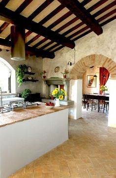 Rustic Italian Tuscan Style for Interior Decorations 14 - You can find Tuscan style and more on our website.Rustic Italian Tuscan Style for Interior Decorations 14 - Farmhouse Style Kitchen, Rustic Kitchen, Kitchen Brick, Kitchen Ideas, Hacienda Kitchen, Kitchen Colors, Rustic Farmhouse, Rustic Italian Decor, Tuscany Kitchen