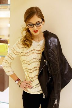 Leather jacket, red lip & glasses