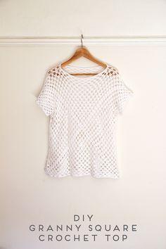 DIY Granny Square Crochet Top By Emma - Free Crochet Pattern - (gatheringbeauty)
