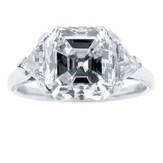 One of the largest collection of estate diamond engagement rings in Washington DC An assher cut diamond weighing 3.83 carats set in platinum