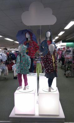 // childrens fashions // display // visual merchandising // rain // cloud
