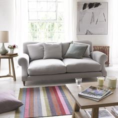 Extra deep and comfy Crumpet sofa in flint brushed cotton with Finca rug White Dining Room Furniture, Dining Room Table Decor, Painted Furniture, Furniture Ideas, Fabric Sofa, Cushions On Sofa, Extra Deep Sofa, Sofa Seats, Sofa Bed