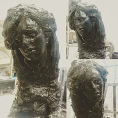 """Melancholic lady"" plaster wax. Sculptures, Lion Sculpture, Plaster, Wax, Statue, Artwork, Plastering, Work Of Art, Auguste Rodin Artwork"