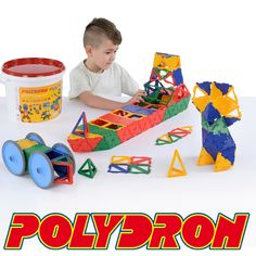Polydron Mighty Tub 20-5005R This is our best selling tub set and includes wheels.  This 223 piece set contains: 80 Equilateral Triangles, 20 Squares, 24 Frameworks Squares, 48 Frameworks Equilateral Triangles, 24 Frameworks Right Angle Triangles, 12 Frameworks Isosceles Triangles, 3 Swivel Joints, 4 Axle Mounts, 4 Wheels & Tyres, 4 Stub Axles and a Guide.  Age 4+. Each square piece measures 7.5 x 7.5cm.