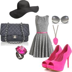 """""""Gray and Pink Chic"""" by shopahaulica on Polyvore"""