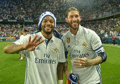 Sergio Ramos of Real Madrid and Marcelo of Real Madrid celebrate winning the title after the La Liga match between Malaga and Real Madrid at La Rosaleda Stadium on May 21, 2017 in Malaga, Spain.