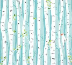 Birch Forest Aqua fabric