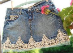 Upcycled Jean Skirt Altered Cowgirl Prairie Girl by OfLinenandLace, $38.50