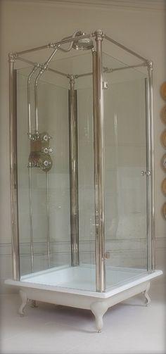 67 Ideas Farmhouse Bathroom Wallpaper Clawfoot Tubs For 2019 Upstairs Bathrooms, Basement Bathroom, Dream Bathrooms, Beautiful Bathrooms, Small Bathroom, Master Bathroom, Classic Showers, Standing Shower, Bathroom Wallpaper