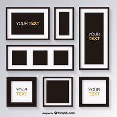 Conjunto preto e branco de quadros Vetor grátis