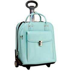 aqua wheeled ladies briefcase