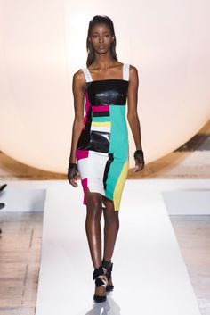 It was all about bold colors in body-con shapes at Roland Mouret Spring 2014 #pfw #ss14