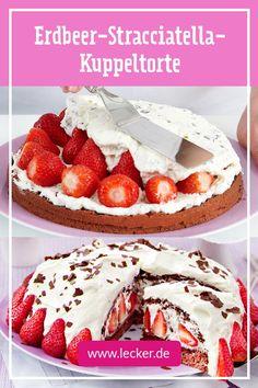 Von dieser Torte werden deine Lieben gar nicht genug bekommen, versprochen! Denn die Kombination aus cremiger Schokosahne, Erdbeeren und Biskuit ist unwiderstehlich gut! #rezept #backen #torte #erdbeertorte #sahne #kuppeltorte #stracciatella #stracciatellatorte #erdbeeren Rustic Cake Toppers, Low Fat Yogurt, Le Chef, Healthy Diet Plans, Eating Habits, Cake Decorating, Bakery, Food And Drink, Sweets