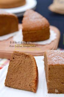 The Furry Bakers: 香浓咖啡海绵蛋糕 Rich Coffee Sponge Cake Coffee Sponge Cake, Coffee Cake, Ogura Cake, Chocolate Chiffon Cake, Lemon Chiffon Cake, Cotton Cake, Resep Cake, Plain Cake, Sponge Cake Recipes