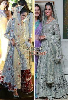 Left: bunto Kazmi for Valima (ox blood lengha) Right : Elan for the wedding day