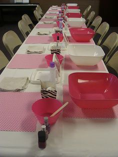 Manicure table....cute birthday party idea for girls, YW, or GNO.