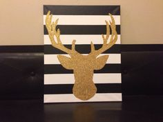 This fancy black and white striped canvas with a gold glittered reindeer will add so much to your Christmas decor. This listing is for 16x20, but