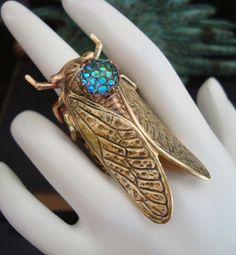Cicada Bug Ring With Iridescent Dragon Skin Jewel