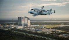 Endeavor flies over the Kennedy Space Center for the last time on its way west.  (photo: Robert Markowitz for Reuters and NASA.)