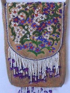 Native American Antique Bag Athabaskan Hand Made Extensive Beading Collectible - 1