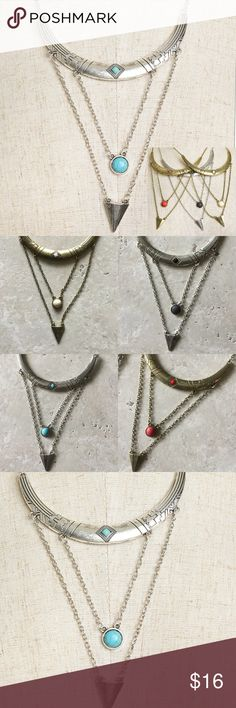 🔴Final Price🔴 Layered Necklace Gem chain layered adjustable necklace.  Just pick the color you are wanting when you hit buy now.  Personal note bin scx Jewelry Necklaces