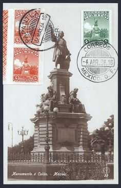 Mexico Scott #653 and Scott #654 pair showing the Columbus (Colón) Monument located on Paseo de la Reforma, Mexico City, Mexico on real photo postcard of the same Monument to Columbus (1934 Maximum Card).