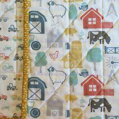 Barnyard Baby Boy Quilt Baby Boy Blanket by GrandTraverseBaby