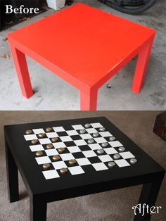 Make your own Checkers table with an old side table (mine is from Ikea) and recycled BEER caps as the pieces!!