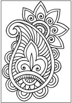 Set of Mehndi flower pattern for Henna drawing and tattoo. Decoration in ethnic oriental, Indian style. Paisley Stencil, Paisley Art, Paisley Doodle, Adult Coloring Book Pages, Colouring Pages, Coloring Books, Free Mosaic Patterns, Zentangle Patterns, Henna Drawings