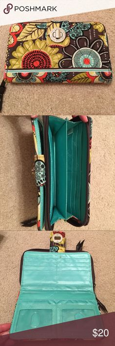 Vera Bradley Turnlock Wallet Large Vera Bradley Wallet with a lot of card space! A few tiny stains on the inside but overall in great shape! Vera Bradley Bags Wallets