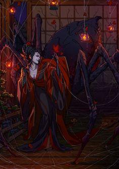 Kate Fox is creating Comics, art, pose-study sets and fox-illustration Japanese Mythical Creatures, Fantasy Creatures, Arte Horror, Horror Art, Dark Fantasy Art, Fantasy Artwork, Dreamland, Spider Art, Fox Illustration