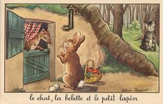 The Cat, The Weasel and the Young Rabbit is a fable written in the by famous french author Jean de La Fontaine. Illustrations Vintage, Art Et Illustration, Fables D'esope, Young Rabbit, Creighton University, Tunnel Book, D Book, Photo Images, Famous French