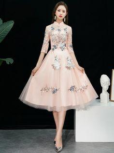 263fba50ee Bridesmaid Pink Embroidered Tulle Qipao   Cheongsam Dress
