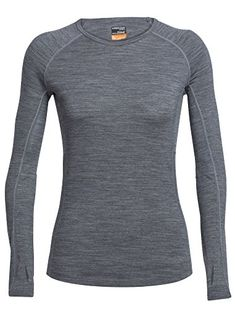 Icebreaker Merino Womens Zone Long Sleeve Crewe Gritstone HeatherSnow Medium ** Read more reviews of the product by visiting the link on the image. (This is an affiliate link) #HikingClothing