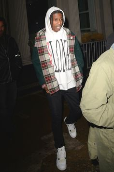 ASAP Rocky wearing Jordan Air Jordan Retro 4 , V Lone Staple Pullover Hoodie, Gosha Rubchinskiy AW15 Hooded Tartan Duffle Coat Multi
