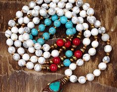 TAKE IT EASY Calming Mala Bead Necklace, Hand Knotted Mala Beads, Handmade 108 Beaded Mala - White Howlite, Turquoise & Red Coral Mala