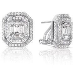 14K White Gold 1.35cttw Round Diamond Earring