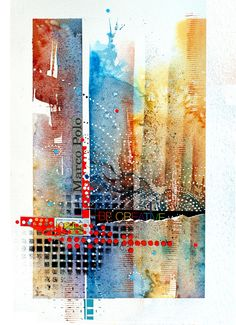 Abstract Composition 7 (Journey). Jan Smit (Watercolour collage)