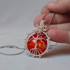 Silver tree of life pendant with large red dichroic glass bead, wire wrapped jewelry, gift for women, wired tree of life, wire wrap pendant