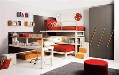 Modern minimalist Kids Loft Double Beds Furniture Design in white, grey & orange
