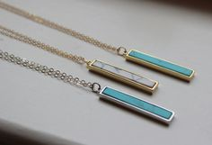 Howlite Necklace, Howlite Jewelry, Marble Necklace, Vertical Bar Necklace, Silver Turquoise Necklace, Dainty Gold Necklace, Bridesmaid Gift Choose Necklace and Length at checkout. Chain is 14k gold filled & sterling silver. Gift box included. Bar is vertical with howlite/turquoise inside &