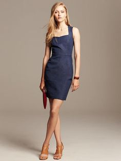 Sloan-Fit Chambray Sheath - available in tall. Love a good chambray dress!