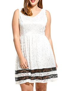 Women V Neck Sleeveless Floral Lace Mini Dress Plus Size White XL Curvy Plus  Size 9abe179f6ab6