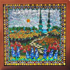 Kathleen Dalrymple - Glass Artist: The Path Through the Garden - glass on glass mosaic stained glass window