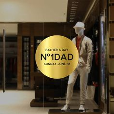 Number One Dad Father's Day Retail Display - Removable Window Vinyl Decal - Silver Shop Window Sticker - Father's Day Gold Window Cling Window Clings, Window Decals, Vinyl Decals, Sticker, Silver Shop, Number One, Fathers Day, Dads, How To Remove