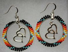 Items similar to Native Heart Earrings by Little Red Bear on Etsy Seed Bead Bracelets, Seed Bead Jewelry, Seed Bead Earrings, Diy Earrings, Heart Earrings, Hoop Earrings, Round Earrings, Beaded Earrings Native, Beaded Earrings Patterns