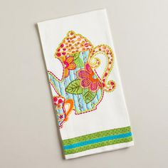One of my favorite discoveries at WorldMarket.com: Teapot and Cup Applique Tea Towel