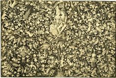 Ornamental engraving with two lovers; at the lower centre grows a tendril with flowers and foliage winding to either side, with numerous birds and figures; in the centre sits a couple; banderole above their heads. c. 1495 Engraving