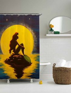 ariel the little mermaid shower curtain,shower curtain size 36x72 48x72 60x72 66x72