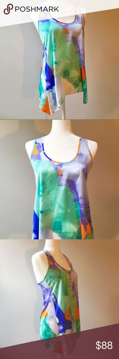 BB Dakota Bright Multicolored Abstract Pattern Top 🎁Offers welcome 🔑Bundle to save                                             👍Like for price drop notifications                EUC, Like New. BB Dakota abstract print Sleeveless top in teal, turquoise, deep blue, purple, orange, green, and white. Lightweight polyester blend ✨ Absolutely perfect for  summer days ahead! Can fit XS-S. BB Dakota Tops Blouses